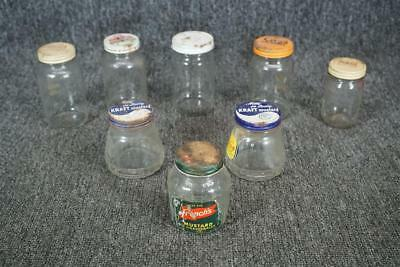 Vintage Lot Of 8 Glass Jars W/ Lids