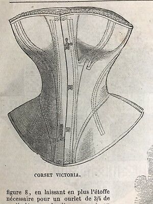 Civil war era MODE ILLUSTREE SEWING PATTERN January 20,1862  CORSET VICTORIA