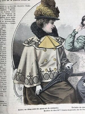 French MODE ILLUSTREE SEWING PATTERN September 19,1897 COLLET EN DRAP, CORSET