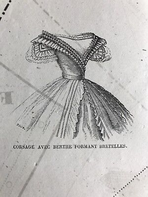 Civil war era MODE ILLUSTREE SEWING PATTERN Sept 29,1862 CORSAGE DECOLETE