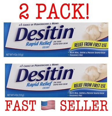 DESITIN Rapid Relief Zinc Oxide Diaper Rash Cream 4 oz (2 PACK) Exp 08/17 SEALED
