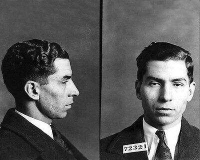 1928 American Gangster Mobster CHARLES LUCKY LUCIANO Mug Shot Glossy 8x10 Photo