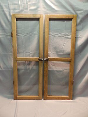 Antique Pair 2 Lite Casement Windows Country Cabinet Doors Old Vtg 43x15 9-18P