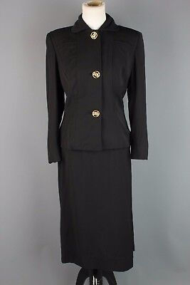VTG 40s 50s Women's Black Virgin Wool Eisenberg Skirt Set #1782 1940s 1950s