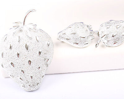 Sarah Coventry Silver Tone Strawberry Set, Vintage 1960s