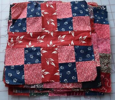 13 1870-90's Double 4 Patch Crossroads quilt blocks, beautiful double pink, indi