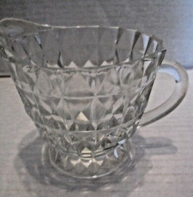 Vintage inverted diamond pattern glass footed creamer pitcher b38