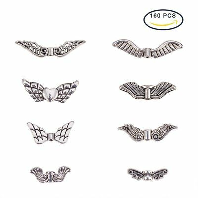 PandaHall Elite Vintage Assorted Tibetan Antique Silver Plated Wing Charm Beads
