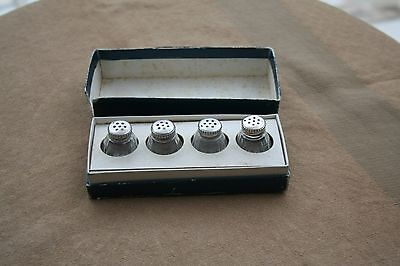 """Christofle Cardeilhac French Sterling Silver Crystal Cellar 4 Pcs Boxed """"perles"""""""