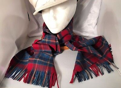 "Vintage PENDLETON Wool Scarf  12.75"" X 60""  - Burgundy Reds, Blue-Greens -Browns"