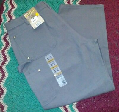 Mens NEW CARHARTT 40x30 Gray Original Fit Firm Duck Double Front Work Dungarees