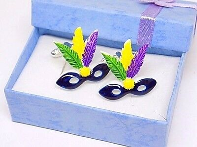 Handmade Mardi Gras Mask Cufflinks Silver Plated Knurl Toggles, Gift Boxed!