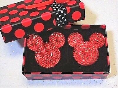 Handmade Mickey Mouse Sparkling Red Cufflinks Silver Plated Toggles, Gift Boxed