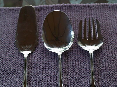 Three Silverplate EPNS SHEFFIELD ENGLAND Serving Spoon, Fork, Dessert Server