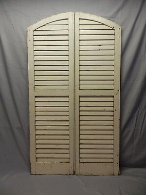Pair Antique Semi Arch Top House Window Wood Louver Shutters Chic 55X16 10-18P