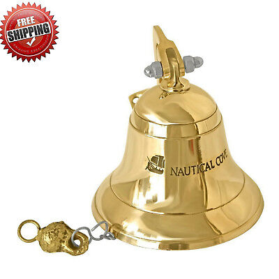 Brass Ship Bell Solid US Navy Decor Nautical Maritime Hanging Wall Mount Outdoor