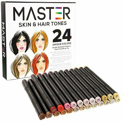 24 Color Master Markers Skin Hair Tone Set Dual Tip Chisel Brush Art Sketch Face