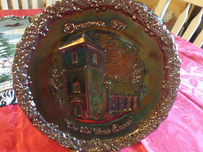 """Fenton Christmas 1971 """"The Old Brick Chruch"""" Carnival Glass Plate"""