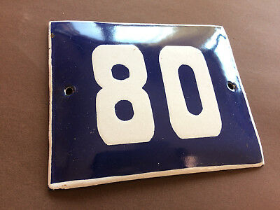 ANTIQUE VINTAGE ENAMEL SIGN HOUSE NUMBER 80 BLUE DOOR GATE STREET SIGN 1950's