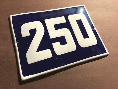 ANTIQUE VINTAGE ENAMEL SIGN HOUSE NUMBER 250 BLUE DOOR GATE STREET SIGN 1950's