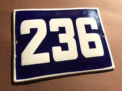 ANTIQUE VINTAGE ENAMEL SIGN HOUSE NUMBER 236 BLUE DOOR GATE STREET SIGN 1950's