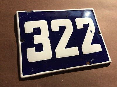ANTIQUE VINTAGE ENAMEL SIGN HOUSE NUMBER 322 BLUE DOOR GATE STREET SIGN 1950's