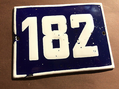 ANTIQUE VINTAGE ENAMEL SIGN HOUSE NUMBER 182 BLUE DOOR GATE STREET SIGN 1950's