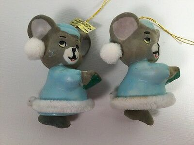 Vintage Bisque Christmas Ornaments Mouse Chimes Soft N Snoozy