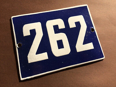 ANTIQUE VINTAGE ENAMEL SIGN HOUSE NUMBER 262 BLUE DOOR GATE STREET SIGN 1950's