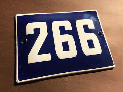 ANTIQUE VINTAGE ENAMEL SIGN HOUSE NUMBER 266 BLUE DOOR GATE STREET SIGN 1950's