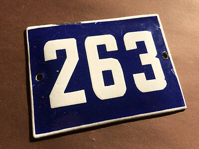 ANTIQUE VINTAGE ENAMEL SIGN HOUSE NUMBER 263 BLUE DOOR GATE STREET SIGN 1950's