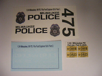 Milwaukee, WI Police 1/24 Waterslide Decal Sheet Set Fits Ford Explorer SUV