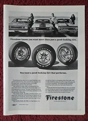 1971 Print Ad Firestone Sports 500, Wide Oval Tires ~ More Than Good-Looking