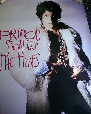 Prince Sign Of The Times Original 1987 Poster Wearing 1960-70's Style shag coat