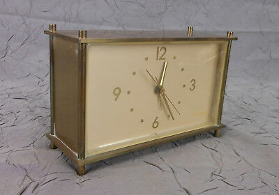 Vintage General Electric Solid Brass Alarm Desk Clock Model 7310 Clean Working