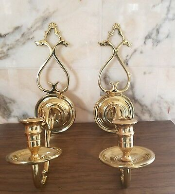 Vtg Pair Virginia Metalcrafters #CW 16-3 Brass Candle Wall Sconces Swan Heads VM