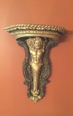 Old Carved Wood Wall Shelf Corbel Sconce-Renaissance Style Figure        *942