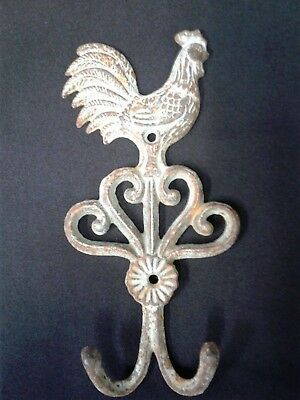Rooster Chicken Double Hook Cast Iron Country Rustic Key Towel Coat Hat Hanger