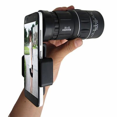 16x52 Zoom Dual Focus Monocular Telescope 66M/8000M For Phone Holder & Pouch Kit
