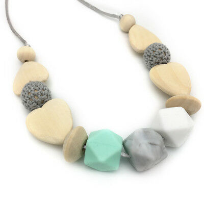 Silicone Teething Necklace Heart Wood Beads Baby Teeth Care Jewelry Shower Gifts