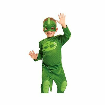 PJ Masks Costume Set Fabric Face Mask Fun Boys Outfit Party Play Gekko Green New