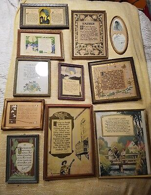 Lot Of Rare Art Deco Collection Of 11 Framed Motto Famous Poems And Tributes