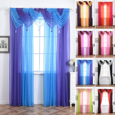New Colorful Tulle Voile Door Window Curtain Drape Panel Sheer Scarf Valances