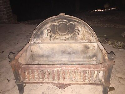 Antique Cast Iron Fireplace Firelog Grate Basket Holder with French Swag Wreath