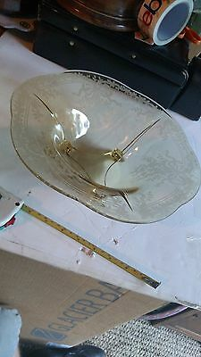 Antique Depression Glass Etched Footed Centerpiece Bowl Fruit Ornate Tiny Bubble