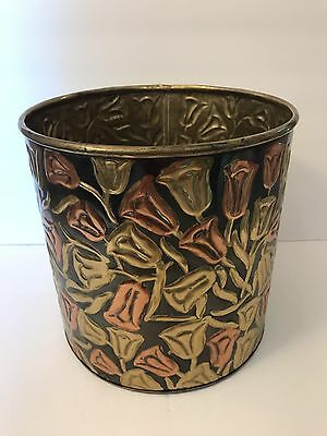 Large Vintage BRASS PLANTER Red Gold Roses Flowers Floral Container Waste Can