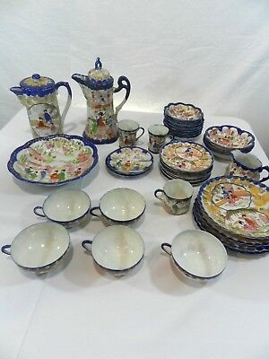 35 Piece Vintage Japanese Tea Set Plates Cups Porcelain Hand Painted Old Japan