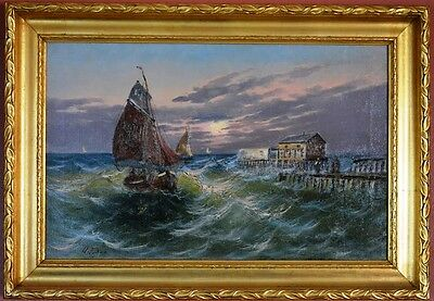 SEASCAPE, antique oil painting by Henri FABRE -french listed artist (1880-1950 )