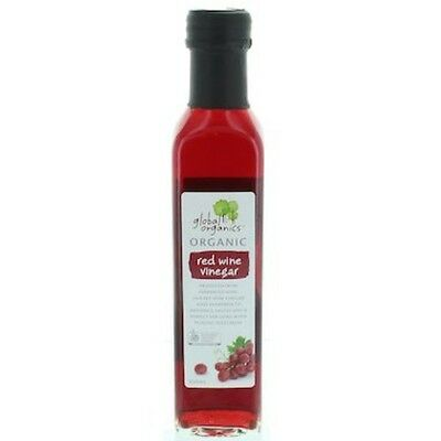 5 X Global Organics Vinegar Red Wine Organic 250mL BULK BUY SHIPS TODAY #OS0207