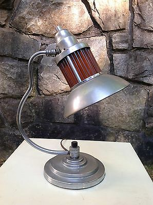 1930s VINTAGE Art Deco MARKEL CORP Table Lamp AMBER GLASS RODS Machine Age